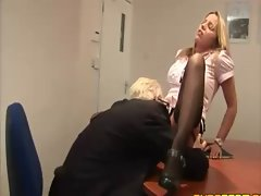 Horny guy goes down on blond sluts wet pussy before getting caught