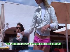 Suzanna gorgeous blonde woman fingering pussy in a public place