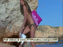 Suzanna amazing blonde babe getting naked on the beach and posing