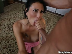 Nasty Zoe Holloway shoves a hard dick down her throat