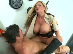 Lusty cop Tyler Faith rides this dick up her slit