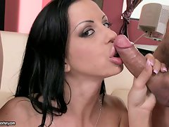 Larissa Dee eagerly waiting to have her dirty mouth filled with cum
