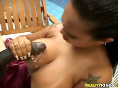 Michelle fucking a guy and getting hot cum shot over her hooters