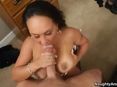 Nasty Mariah Milano gets splattered in warm jizz