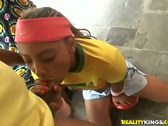 Latin bitch Julianna Wraos getting face fucked in a little patio