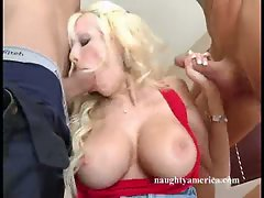 Hot btich Danielle Derek takes one cock at a time in her mouth like candy