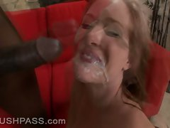 Huge black cock splits Naomi Cruise's pussy in two and sprays her after