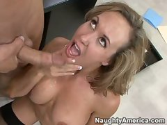 Sexy Brandi Love got rewarded man cream after a hot sensational fuck
