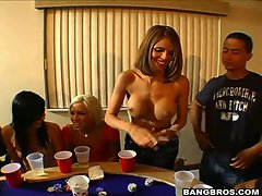 Ashli Orion and her whore friends losing a strip poker matching and stripping