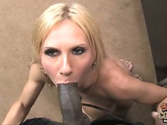 Brooke Tyler trying to suck the whole black cock