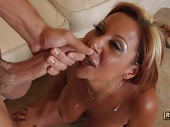 Demi Delia is rewarded for her hot fuck with a huge load of spunk