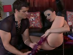 Dana DeArmond bumping and grinding by dildo of hunk guy