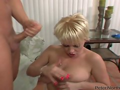 Missy Monroe let a bald guy spewed cum on her boobs