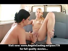 Lesbian chick and cute hitchhiker kissing and licking and toying