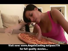 Amateur adorable brunette babe fucking with the pizza man