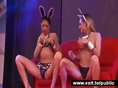 Lesbian Cuties Licking and Toying in public