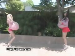 Hot blonde and brunette babes walking part2