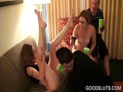 Gangbang with drunk sluts cunt licked