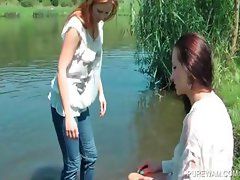 WAM scene with wet lesbos in the river