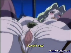 Hentai woman with lingerie and big bust and doggystyle fucked