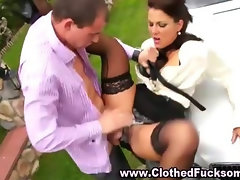 Clothed fetish glamour slut blowjob and fuck