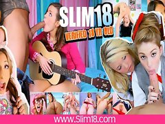 2 Teen Pussies and 4 Boobies - Slim18.com