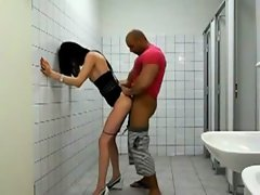 Super hot trap gets fucked in a public washroom
