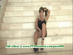 Patricia awesome redhead babe fingering pussy on the stairs