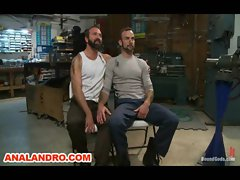 Motor Oil Bondage Gay BDSM in the Metal Shop