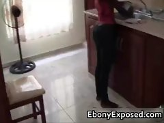Black girlfriend washes dishes and sucks