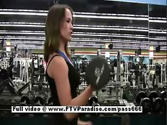 Denise tender sexy babe flashing at the gym