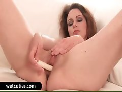 Redhead euro nympho fuck giant toy