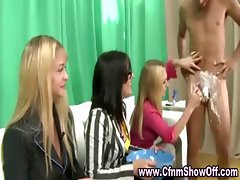 CFNM dude has cock and balls shaved by amateur girls