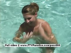 Jamie stunning redhead babe playing in the pool