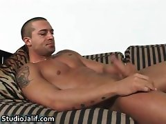 Latin Nacho jerking his firm gay cock