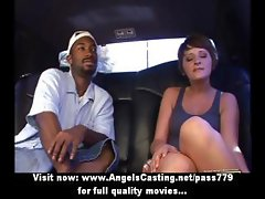Cute brunette hitchhiker flashing tits and ass for black guy in car