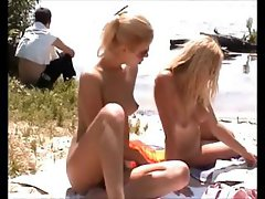 Russian babes are on the beach and running around in the sun naked