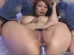 Busty Japanese babe dildoed in ass uncensored