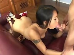 Asian Lucy Thai sucks white dick