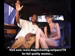 Cute brunette nerdy chick flashing panties and pussy for black guy