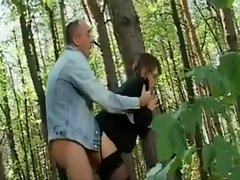 He fucks sexy glasses girl in the woods