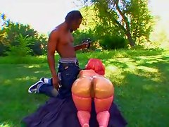 Fat ass black chick outdoors