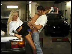 Milf in blouse fucks her mechanic