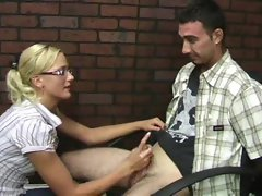 Super cute blonde binds his hands before stroking