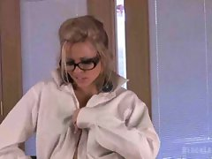 Lusty secretary in glasses stripping and dancing