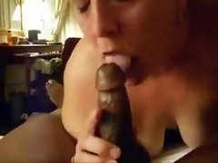 Chubby chck blows a black guy very well