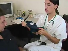 Handjob doctor gives him a good time