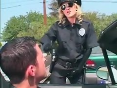 Cop lady in black latex is super hot