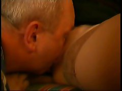 Old dude eating hot young pussy