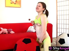 Playful teeny enjoys dildo and lollypop fuck